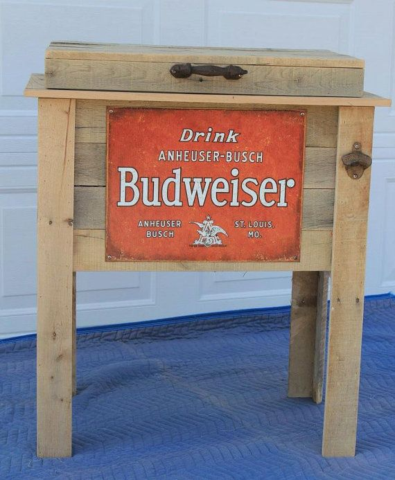 Man Cave Bar Cart : Rustic wooden cooler is great for a man cave outdoor bar