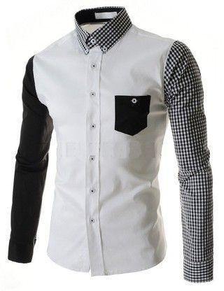 Camisa Casual Fashion en Dos Colores - Manga y Cuello a Cuadros - en Blanco y Negro