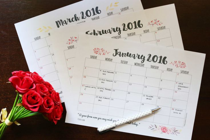 Free Download Weekly and Monthly Planner Printables 2016