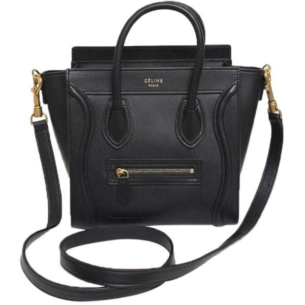 Pre-Owned Celine Black Smooth Leather Nano Bag (71,470 MXN) ❤ liked on Polyvore featuring bags, handbags, purses, bolsas, black, zip top bag, hand bags, colorful handbags, multi colored handbags and colorful purses