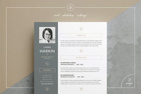 Professional Resume/CV | Cover letter Template Carrie by Keke Resume Boutique on @creativemarket #theme