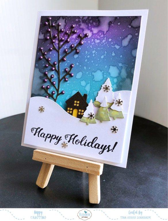 Happy Holidays Hillside Scene Card