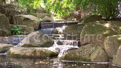 Beautiful Waterfall in Hamburg Park near Japanischer Garten Planten un Blomen Park