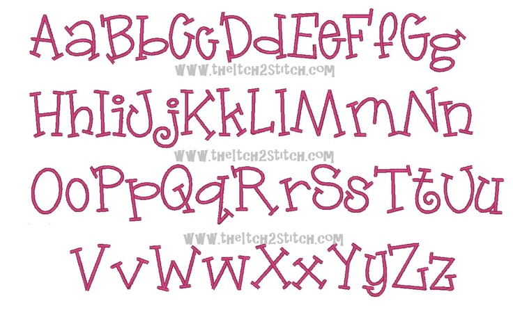 """Jelly Bean Machine Embroidery Font 1"""", & 2"""" (upper and lower A-Z)."""
