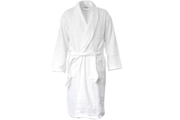 bathrobe Aquatuning size M terry cotton white bags 2 u. Schalkragen