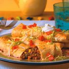 Beef and bean chimichangas.  Baked, not fried, so semi-good for you :)  One of our all-time family favorites.