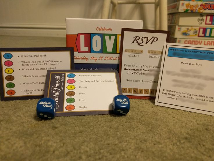 Awesome wedding invitations inspired by classic board games. Shipped in a mini box.