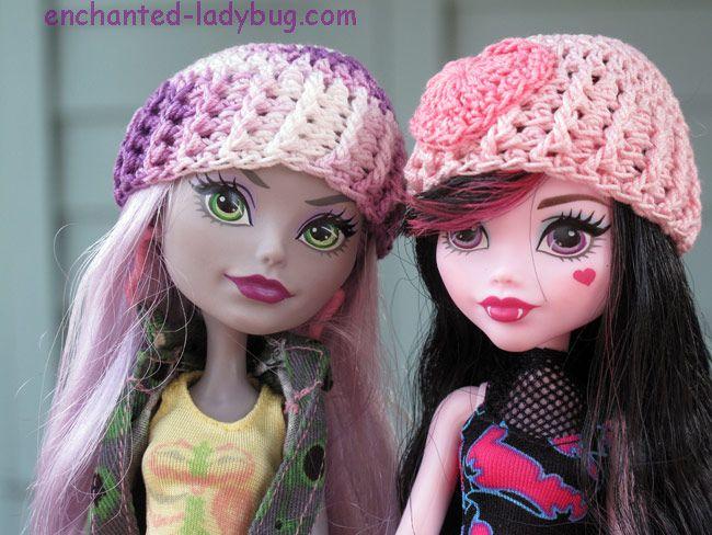 Free Crochet Monster High Hat Pattern. Cute crochet pattern for hat accessories for Monster High Dolls. Free crochet pattern download.