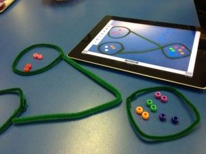 teaching number bonds (singapore math) using pipe cleaners (hands-on) and transfer to pictorial (using skitch on the ipad) and then to abstract (using numbers)