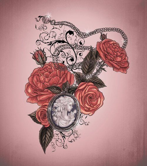 Definitely a great example of what I want done for a shoulder cap!! With lace and mom & dad's thumb prints inside the locket