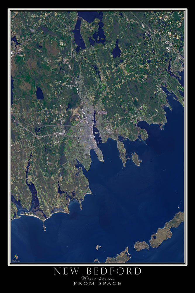 New Bedford Massachusetts Satellite Poster Map Bedford - Satellite world map poster