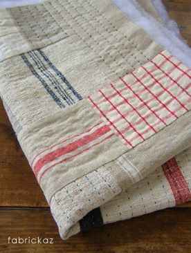 checks & stripes ~ would love to make a quilt out of vintage dish towels