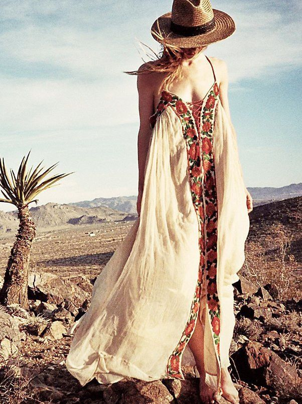 Exquisite Embroidered Boho Tribal Print Maxi Dress