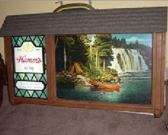Technocolor lit -- moving water Hamms Beer signs- these were so fascinating.  Don't know that I ever saw a Hamms one but sure liked the Coors one!