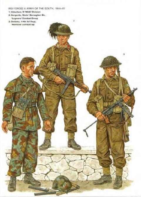 """R.S.I. 1 Fante di marina della X Mas - Gruppo indipendente R.S.I - 2 Esercito del SUD (alleati)Sergente dei Bersaglieri, Gruppo di combattimento """"Legano"""" - 3 Fante Gruppo di combattimento """"Mantova"""""""