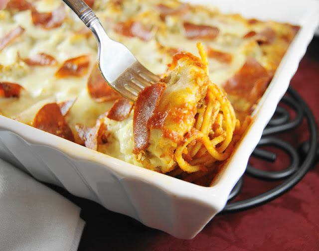 Pizza Spaghetti Bake  {from The Kitchen is My Playground}