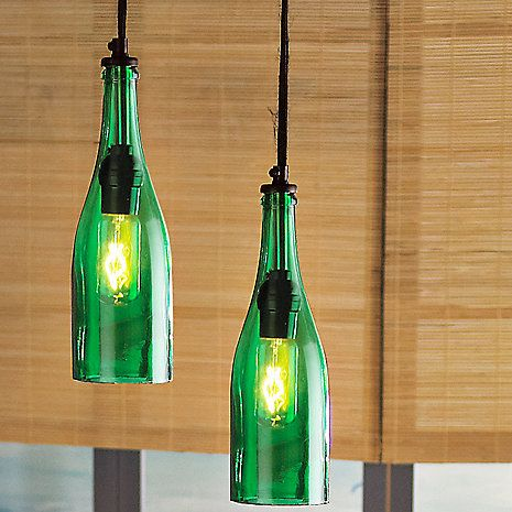 Wine bottle pendant light at wine enthusiast things to wine about pinterest - Wine bottle pendant light ...