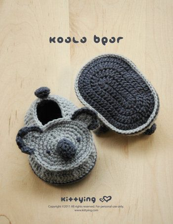 Koala Bear Baby Booties Crochet PATTERN, SYMBOL DIAGRAM *Permission to sell finished items given*