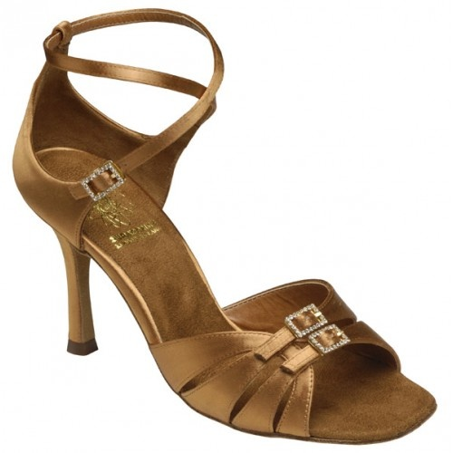 "Supadance 1057, dark tan satin  Curved Design in Dark Tan Satin with adjustable straps. Regular Fitting with 3"" Ultra Slim Heel and High Arch Insole.   Price: 135.40€"