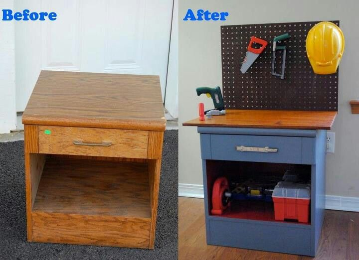 Turn an old bedside table into a kids tool bench! This will go with the real tool sets santa got the boys from bunnings