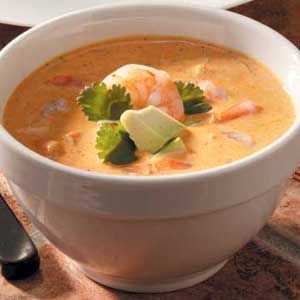 Mexican Shrimp Bisque - Yum! Tripled recipe- used soup pan, carmelized the onions in pan then added 2 beef bullion cubes (out of ck granules). definately make again! (A, 4/2012)