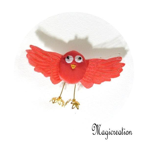 MAGNET OISEAU SOIE ROUGE - Boutique www.magicreation.fr