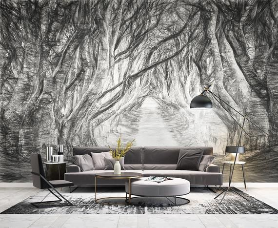 3d Black Branches D241 Wallpaper Mural Decal Mural Photo Etsy In 2021 Forest Wallpaper Adhesive Wall Art Removable Wallpaper