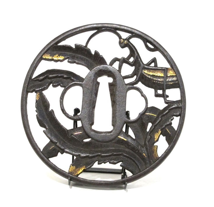 Marugata iron Tsuba decorated with a praying mantis in leaves, Japan, Early Edo 1700-1750: Irons Tsuba, Marugata Irons, Early Edo, Praying Mantis, Edo 1700 1750, Tsuba Decor