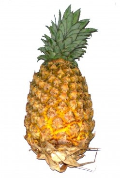 A pineapple has a thorny skin but is sweet inside - picture / image of pineapple