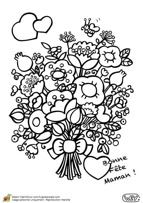 Un bouquet de fleurs colorier pour la f te des m res - Dessins de bouquets de fleurs ...
