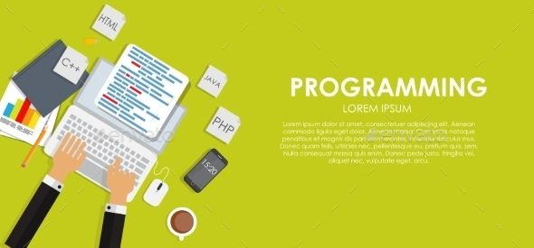 Programming Coding Concept Flat Background