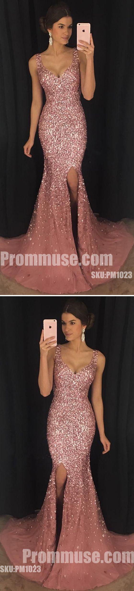 Sexy Heavy Beaded Sparkle Side Split Mermaid Long Prom Dresses, PM1023 #promdress #promdresses #longpromdress #longpromdresses #eveningdress