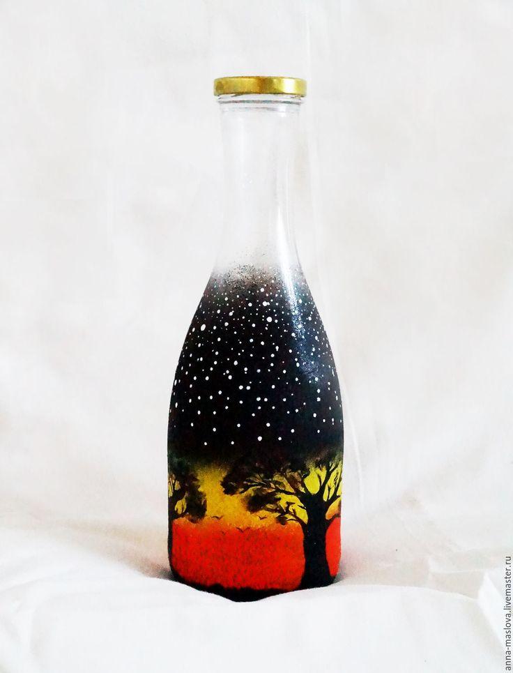 Купить Египет, ночь в пустыне. Декоративная бутылка оранжевый, желтый, черный - бутылка декоративная