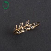 Caimao 14kt / 585 Sarı Altın 08ct Doğal Siyah Pırlanta nişan Düğün Band Yüzük Takı (Çin (Anakara))