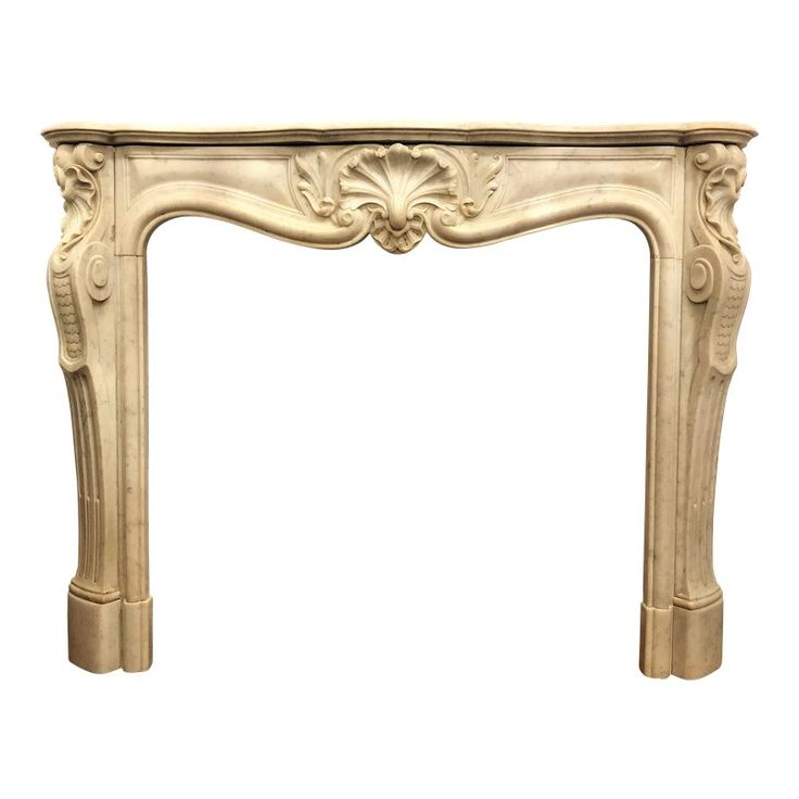 Antique French Louis XV Carrara Marble Fireplace Mantel, Circa 1860.