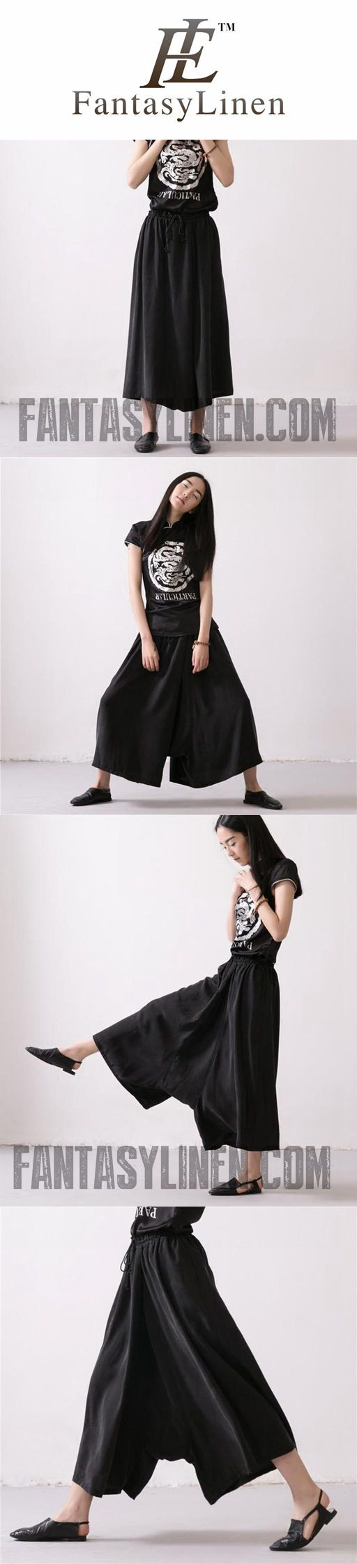 LINEN TROUSERS BLACK WOMEN DRESS SLACKS PANTS K037