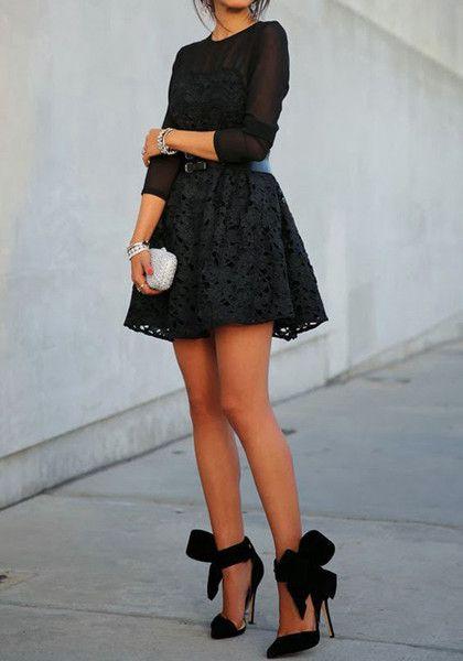Lace Dress & Bow Pumps