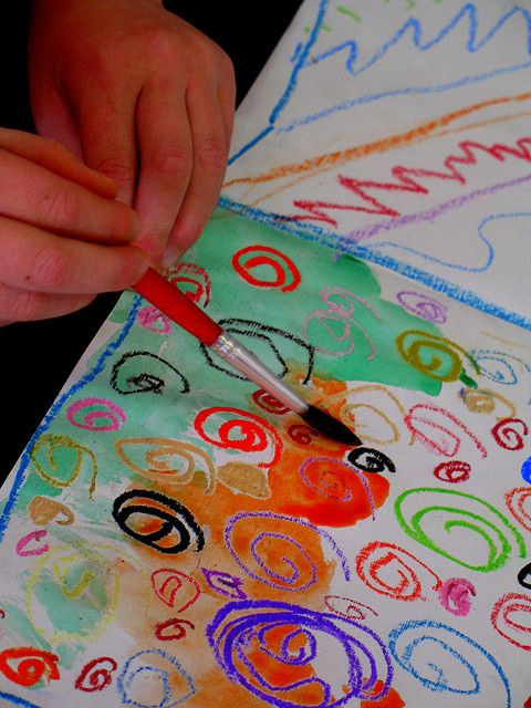 Watercolor and Oil Pastel Resist. This really works and is so cool for kids!