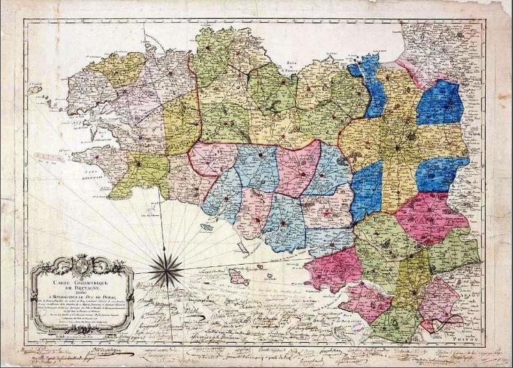 Carte géométrique de Bretagne portant les limites des futurs départements datant de 1771. Gravure, 57 x 79 cm Archives nationales, NN/182/54 © Archives nationales, France
