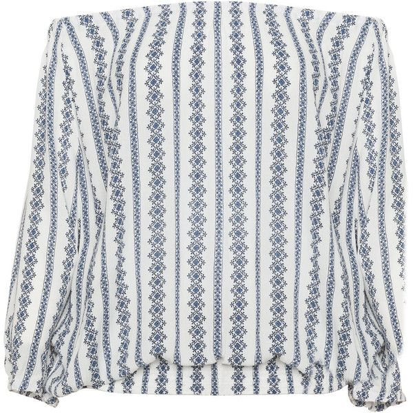 Zizzi Cream / Blue Plus Size Printed off the shoulder top ($61) ❤ liked on Polyvore featuring tops, blusas, cream, plus size, ruched tops, off shoulder tops, long-sleeve crop tops, striped off-the-shoulder tops and blue top