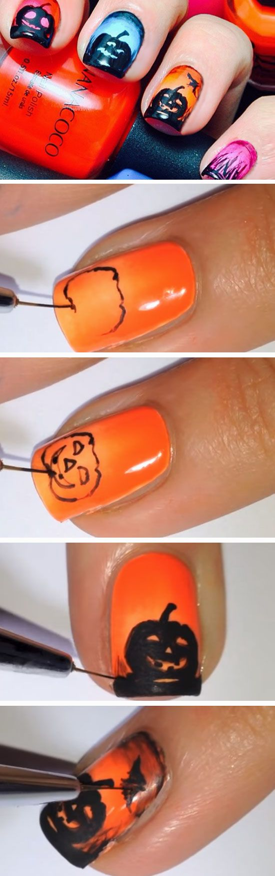 Multicolored Pumpkins | 23 Easy Halloween Nail Art Ideas for Teens that are totally spooktastic!