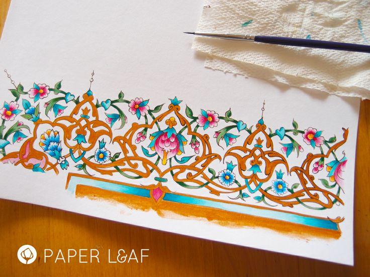 Imitation Tazhib | Acrylic paint on cotton paper