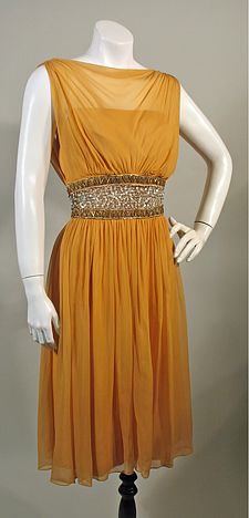 1950s Vintage Gold Silk Chiffon Cocktail Party Dress with Beaded Midriff