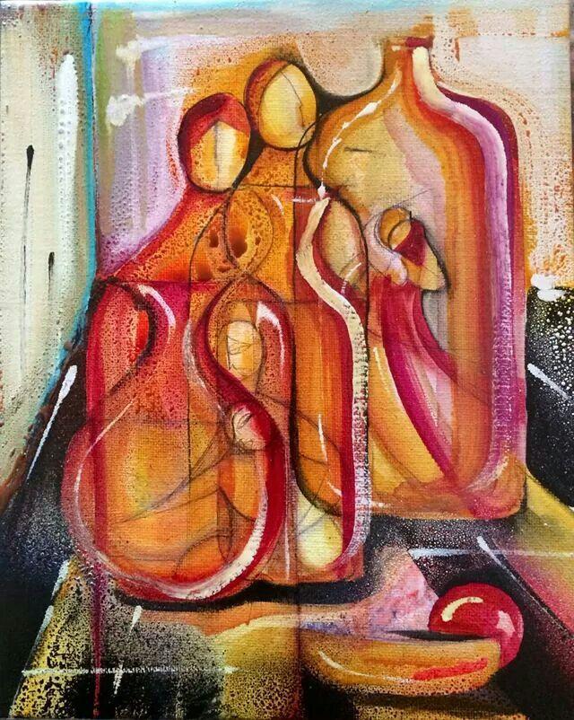 Art. Maddalena Franguelli La coppia __smalto ecoline su yuta 50 x 40 disegno a penna biro