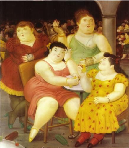 'Four Women' (1987) by Colombian painter Fernando Botero (b.1932). via WikiPaintings