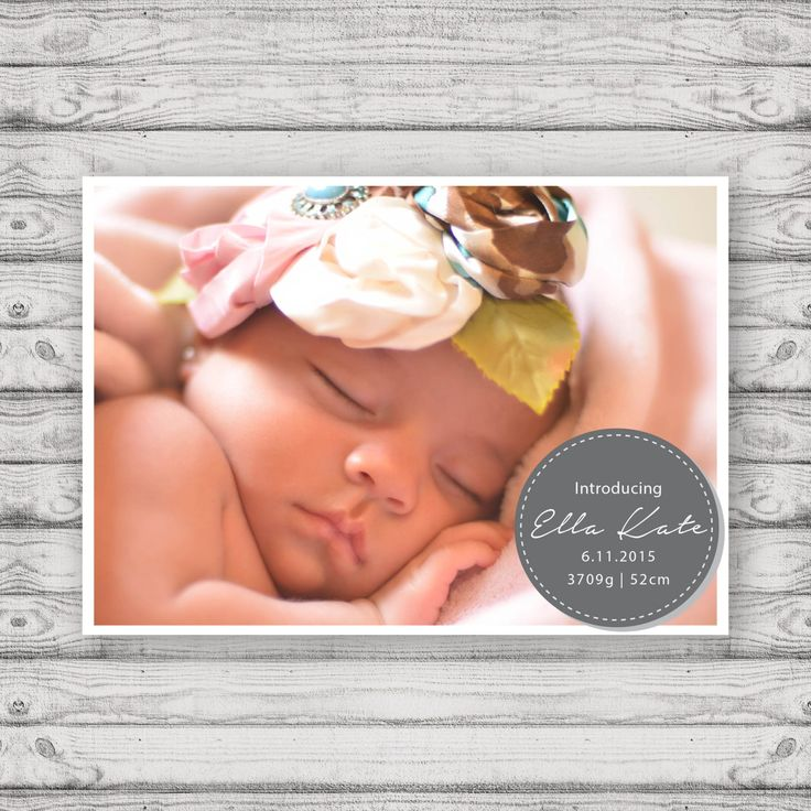 Birth Announcement Cards - Print At Home File or Printed Cards - Personalised Baby Announcement Cards - Folded Card or Postcard Design by PaperCrushAus on Etsy