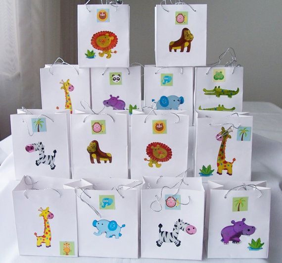 14 Animal party favours - kids birthday party favours - baby shower favours - table decorations - zoo/wild animal decorations via Etsy