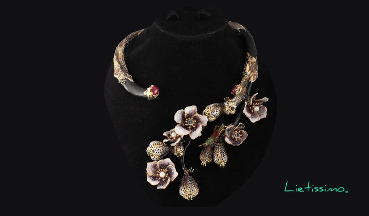 Ruby and Pearl Flower Necklace