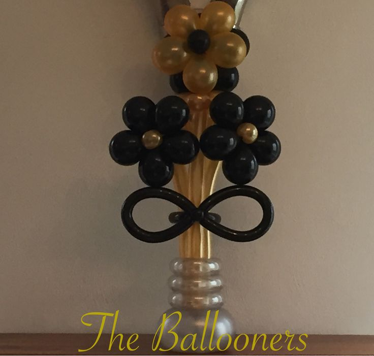 Balloon flower bouquet black gold silver balloons by simeon pinterest balloon flowers and
