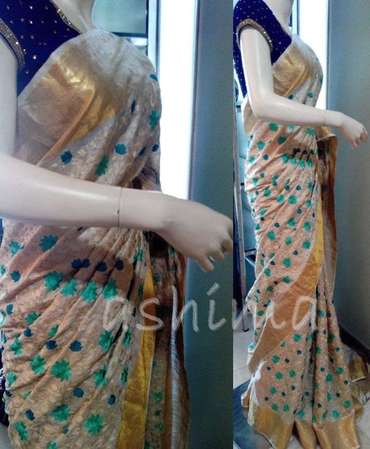 Code:1108162 - All Over Embroidery In Tussar Silk With Tissue Border, Price INR:9440/-